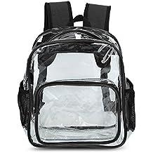 Zicac Grande borsa zaino da spiaggia a spalla, in PVC trasparente, color giallo e nero