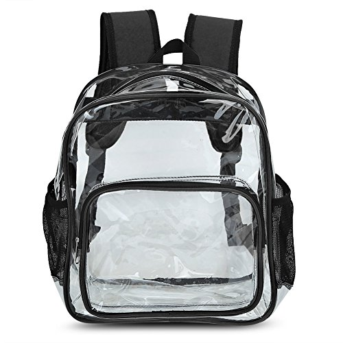 Zicac Girls' Cute Transparent Clear Pvc Backpack School Bag With Mesh Side Pockets (Black)