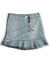 45601259ce Kidstudio Girls Denim Skirt for Kids Light Blue Washed Cotton Shorts,  Comfort Fit, 1