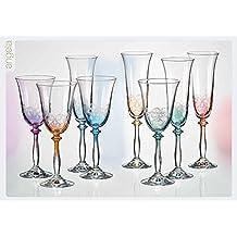 Kristall Bohemia Sekt Gläser Angela 190 ml, 6 - Set, farbig sortiert und Gravur