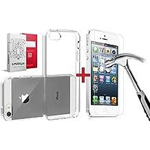 Custodia iPhone SE Trasparente + Pellicola Protettiva Vetro Temperato, Mobilyos® [ Trasparente ] Cover iPhone SE / 5s / 5