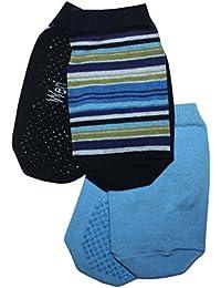 Weri Spezials Baby und Kinder Sneakers mit Noppen-ABS ohne Frotee Doppelpack: ein Ringelsoeckchen + ein UNI Soeckchen in Marine Ringel+Mittelblau UNI