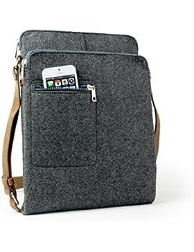 Fansmart handgemachte Filztasche Schultertasche vintage Aktentasche Umhängetasche für iPad mit Lederriemen Empfehlens...