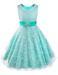 iEFiEL Vestidos de Princesa Boda Fiesta Vestidos Elegantes Brillantes de Encaje Floreado para Niñas Chicas de