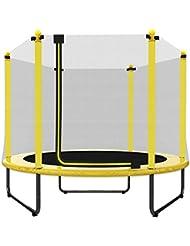 EUR POINT 150 cm Kindertrampolin mit Sicherheitsgehäuse, verzinkter Stahl, 36pcs hochfeste Federn - ideales Indoor- und Outdoor-Gartentrampolin für Kindergeburtstag