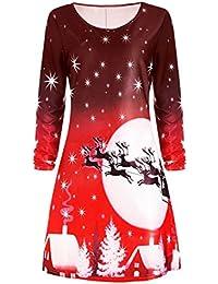 KOLY Donna Natale Stampa Vestito a Manica Lunga Partito di Sera Abito a  Ginocchio Felpa Camicia Vestito Vestito da… 70e480af69a