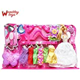 Wembley Barbie Like Fashion Doll Girl With 6 Dress Changes, Large Handbag And Many Beauty Accessories, Multi Color
