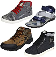 Earton Men Combo Pack of 4(Sandals with Casual Sneakers & Sports Sh