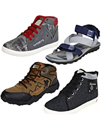 Earton Men Combo Pack of 4(Sandals With Casual Sneakers & Sports Shoes)