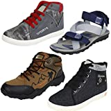 Bersache Men Combo Pack Of 4 (Sandals With Casual & Sports Shoes)