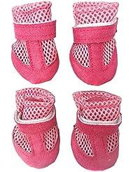 Semoss 4 Set Perros Accesorios Antideslizante Zapatos Perro Impermeable Zapatos Botas Perro Animal Mascota Perro Accesorios Rosa,Tamaño:S,4.0 x 3.5 cm (L x B)