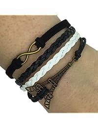 (B7) Vintage Handmade Infinity 8 Eiffel Tower Leather Bracelet Wristband including gift box