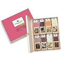 """WELLNUSS Geschenk für Frauen: 8 Premium Nuss- und Schokoladen-Snacks in der Geschenkbox aus Birkenholz mit der Schmuckverpackung """"Ladiesnight"""" (8 Snacks in der Birkenholzbox)"""