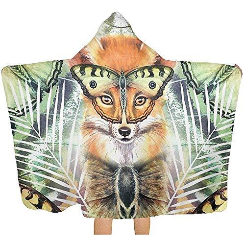 Wen-shop Fuchs und Schmetterlinge Handtuch mit Kapuze Poncho Bad Badetücher Bademäntel Kinder Jungen Mädchen Superweich