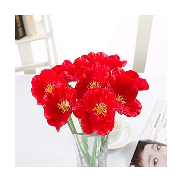 Isuper 1 Manojo / 10 Piezas de Las Amapolas Artificial Mini táctiles del Verdadero Amapolas Amapolas Flor Decorativa de…
