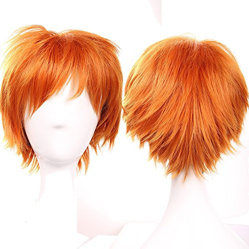 S-noilite Anime Short Full Hair Wigs Cosplay Costume Party Fancy Dress Unisex Syntheic Dark Orange by (Orangene Perücke)