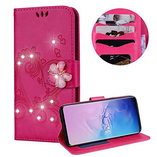 Heiß Rosa Brieftasche für Samsung Galaxy S10E,Strass Handyhülle für Galaxy S10E,Moiky Luxus Liebe Herze Muster 3D Schmetterling Dekor Magnetisch Kunstleder Stoßdämpfende Handytasche mit TPU