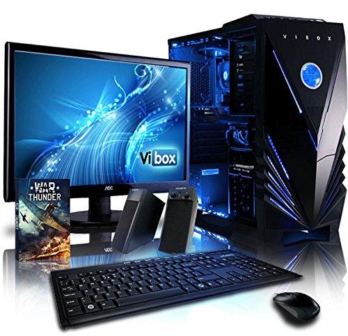 """Vibox Shock Wave Pacchetto 10 Gaming PC con Gioco War Thunder, 21.5"""" HD Monitor, 4.2GHz AMD FX Quad Core Processore, nVidia GeForce GTX 960 Scheda Grafica, 2TB HDD, 32GB RAM, Case Tactician, Neon Blu"""