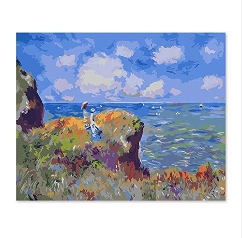 WYTCY Mit gerahmtem Gemälde nach Zahlen Kunstfarbe nach Zahlen Berühmt, DIY digitales Malen, Dekorationen, Kunsthandwerk, abstrakt, Landschaft, Meer 40x50cm
