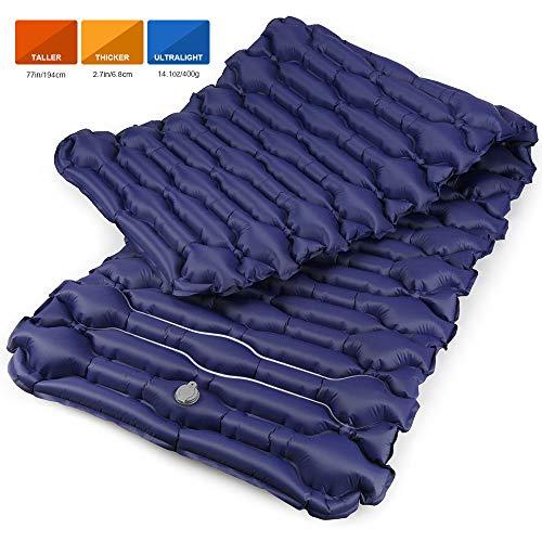 Bessport Isomatte Camping Schlafmatte, 6.8 cm Dicke (Groß, Breit) Isomatte Ultraleicht Kleines Packmaß. Aufblasbare Luftmatratze für Outdoor Camping, Reise,Trekking und Backpacking (Blue) - Nachricht Matratze
