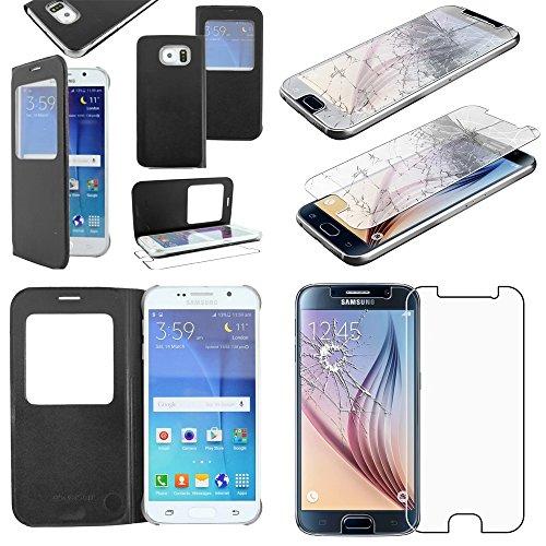 ebestStar - [Kompatibel mit Samsung Galaxy S6 Hülle [SM-G920F, G920: 143.4 x 70.5 x 6.8mm, 5.1''] Etui mit Sichtfenster Handyhülle, Kunstleder Wallet Case, Schwarz + Panzerglas Schutzfolie
