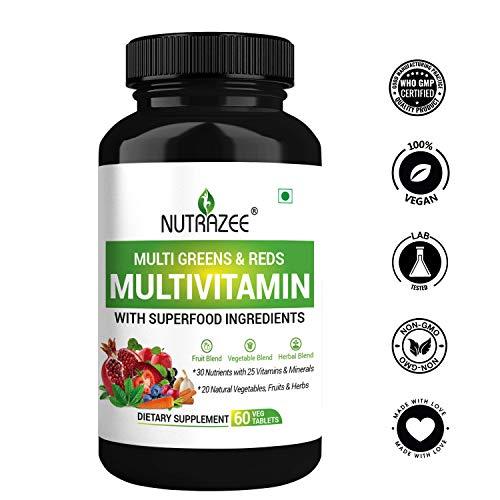 Nutrazee Multi Greens & Reds Multivitamin with Natural Fruit, Vegetable & Herbal Blend -60 Tablets for Men & Women