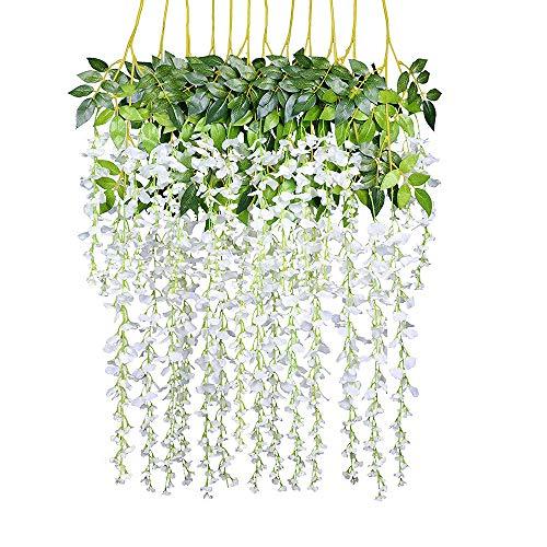 Rifuli-Küche, Haushalt & Wohnen Künstliche Blumen 12 Pack Gefälschte Glyzinien Hängende Garland Seidenblumen String Home Party Hochzeit Decor - Kopf-tisch-mittelstücke