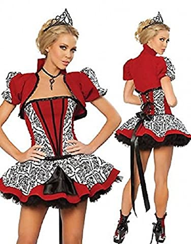 Costume Reine Rouge Motif - Costume reine Royal Sexy - Gilet/Corset/Jupe Rouge