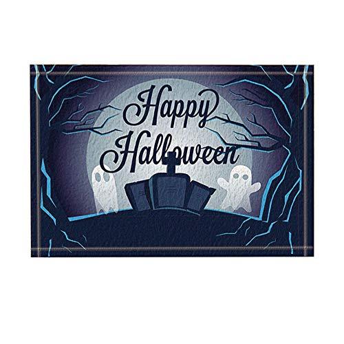Aliyz Happy Halloween Dekor, Cartoon Ghost auf Grabstein in Waldbadeteppiche, Rutschfeste Fußmatte Bodeneingänge Indoor Haustürmatte, Kinder Badematte, 15.7x23.6in, Bad-Accessoires
