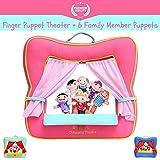 Fingerpuppen Theaterbühne von Better Line - Satz enthält 6 Finger Familien-Puppen - tragbare Plüsch Fingerpuppen, Theater ist die beste Vorschule Kinder Spielzeug (Pinke Farbe)