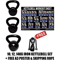 FXR 10, 12, 14KG KETTLEBELLS STRENGTH TRAINING HOME GYM FITNESS KETTLEBELL SET