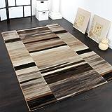 Paco Home Alfombra Noble De Diseño A Rayas Y Moteada En Tonos De Negro Beige Marrón, tamaño:160x230 cm