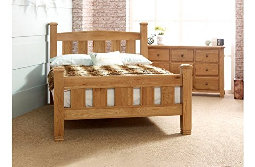 Wooden Bella Oak Bed Frame Contemporary Solid Look Sturdy in 3 sizes 4ft6 Double 5ft King 6ft SuperKing 2 Colours Oak or Grey By Limitless Base (Super King, Oak)