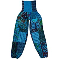Women's Patchwork Harem Yoga Pant Blue Hippie Boho Yoga Casual Trouser