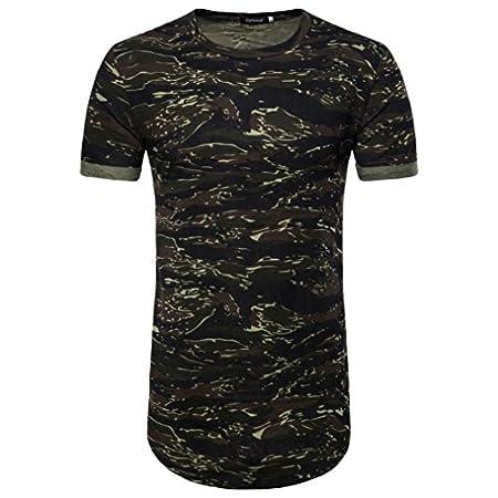MRULIC Herren Casual Camouflage Print O-Ausschnitt Pullover Lange T-Shirt Top Bluse