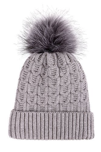 3056036e4e3 Arctic Paw Sherpa Lined Knit Beanie with Faux Fur Pompom - Gray -