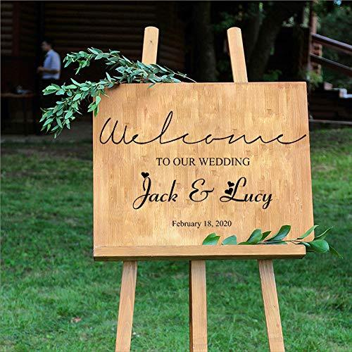 Hochzeitsdekor DIY Vinyl Applique Willkommen zu unserer Hochzeit Braut und Bräutigam Name Datum benutzerdefinierte Wandaufkleber Familie Garten König blau 16 58X33cm