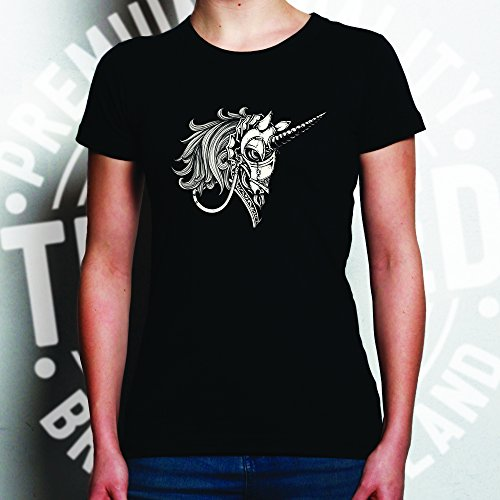 Gothic Armored Einhorn Alternative Graphics Design Cooler Frauen T-Shirt Red
