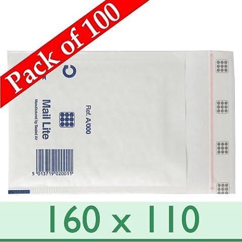 100X Sacs Enveloppes rembourrées postal Blanc Mail Lite A/000~ 160mm x 110mm