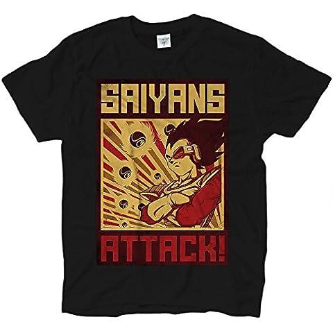 Camiseta T-shirt hombre Saiyans Attack campaign super poster vintage