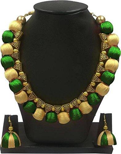 Ambal Green and Golden Shade Choker Silk Thread Necklace Set