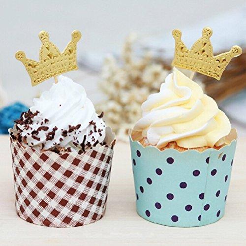 changyin-uk 100/250pcs Gold Krone Cupcake Topper £ ¬ Geburtstag Party Kuchen Topper Gold Glitzer Cupcake Topper Geburtstag Dekorationen 100