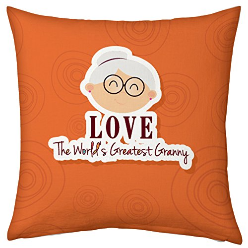 indibni world's best granny 12X12 Unique Cute Cushion for Grandmother Grandparents Mother on Birthday Anniversary Décor