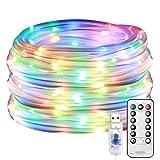 LE Tubo Luminoso 10m 100 LED RGBY, Luci Stringa Luminosa Impermeabile IP65, 8 Modalità di Illuminazione e Cavo USB con Telecomando, Funzione Timer e Memoria per Decorazioni Interni ed Esterni