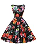Abito da sposa partito dei vestiti Hepburn stile pannello esterno pieno delle donne Floral-14