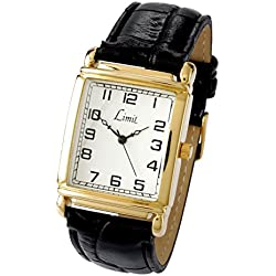 Limit Men's Quartz Watch with White Dial Analogue Display and Black PU Strap 5986.35