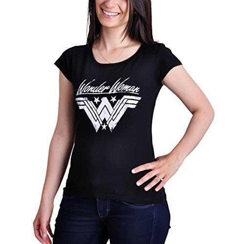 Wonder Woman Damen T-Shirt Logo Baumwolle schwarz - XL - Woman Wonder Für T-shirts Frauen