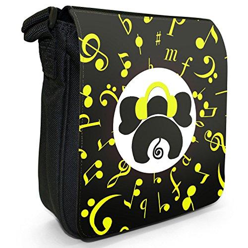 Musical Animals-Borsa a tracolla in tela, piccola, colore: nero, taglia: S Nero (Musical Elephant)