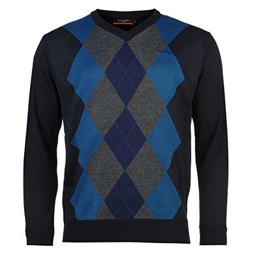 Pierre Cardin Herren Argyle Strickpullover Pullover Langarm V Ausschnitt Pulli Navy/Teal XX Large (Argyle-kragen)