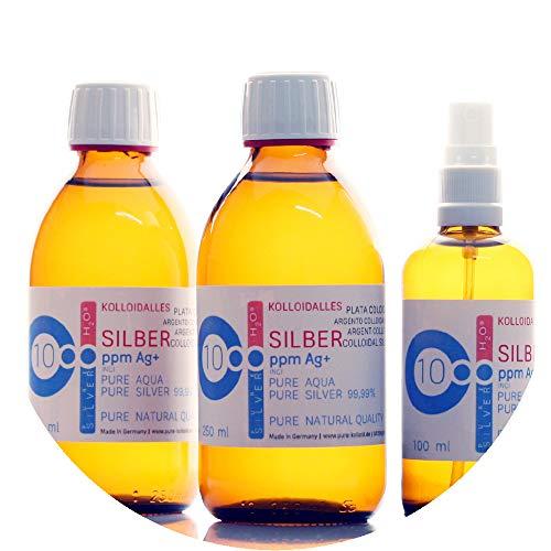 600ml argento colloidale - 2 bottiglie da 250 ml/10 ppm argento colloidale + spray (100 ml/10 ppm) - 99,99% puro argento - migliore qualità - made in germany